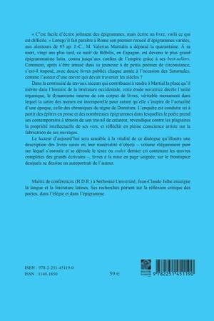 """Le """"Livre"""" de Martial et l'autoportrait du poète en épigrammatiste romain"""