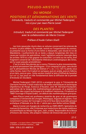 Du Monde ; Positions et dénominations des vents ; Des plantes